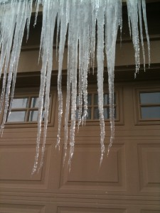 Five foot icicles in central Oregon