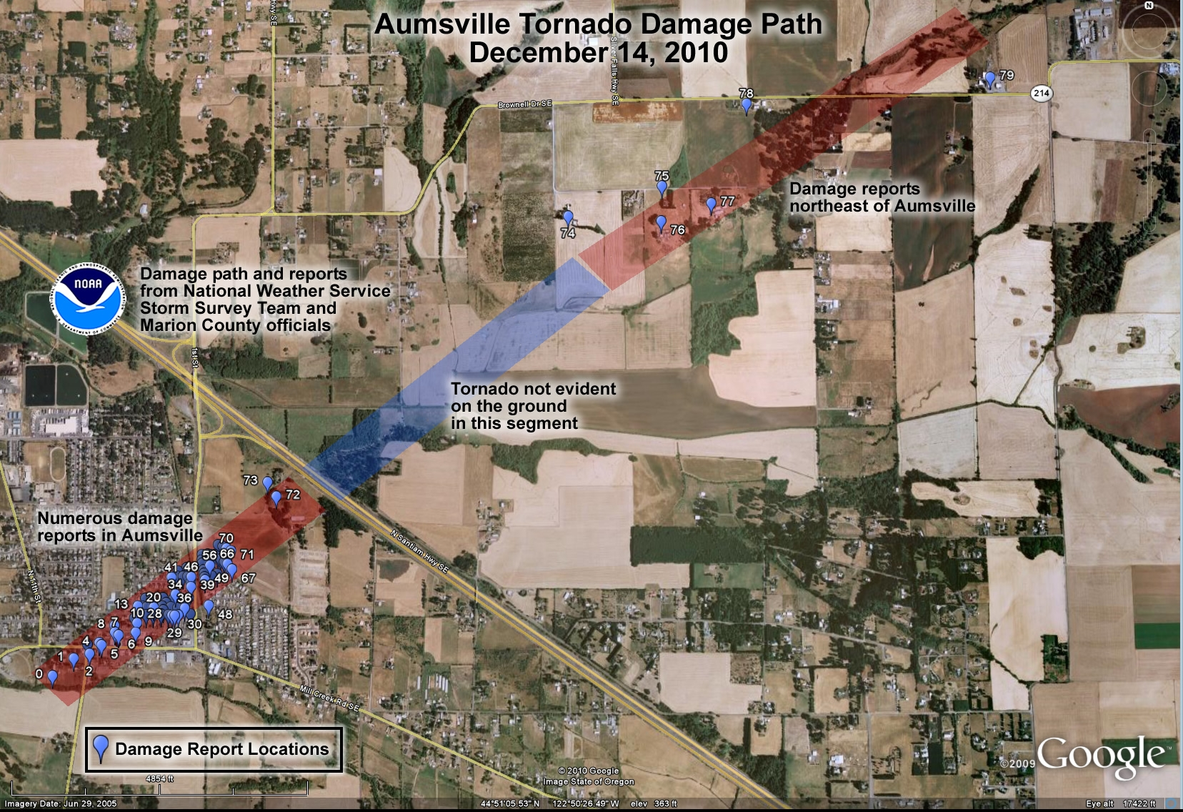 Rare Northwest Tornado Hits Willamette Valley – Map Of Storm Track