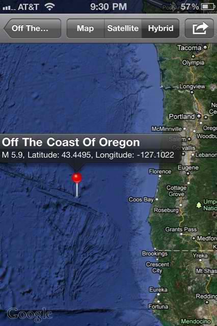 Magnitude 5.9 Quake Off The Oregon Coast