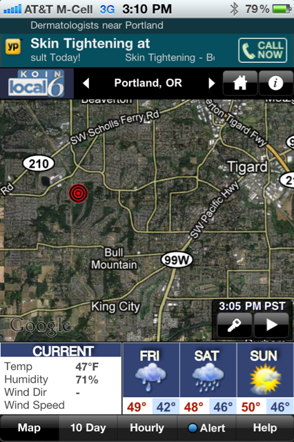 Beaverton Earthquake Tracked With KOIN Local 6 Weather App