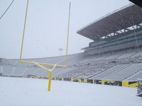 Inches Of Snow Covers Duck's Autzen Stadium