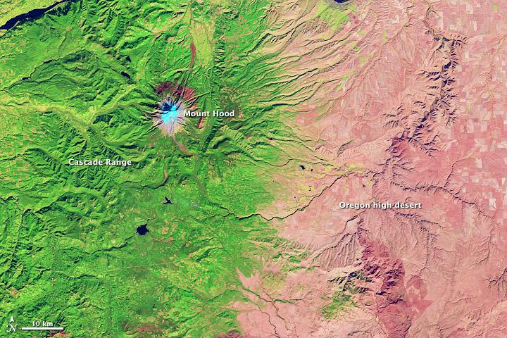 Oregon Rain Shadow Seen By Satellite