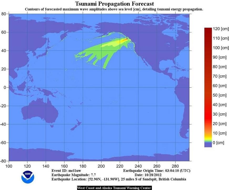 Tsunami energy map canada quake