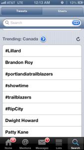 Canada: Lillard Number One Trend