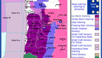 Sunday: Rare Ice Storm Warning For Portland, I-5 Corridor